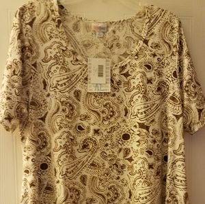 NWT LuLaRoe Perfect T lt brown paisley top size XL